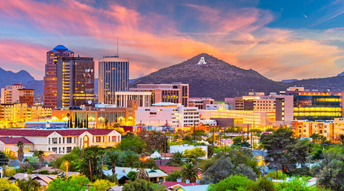 Skyline view of Tucson and the buildings